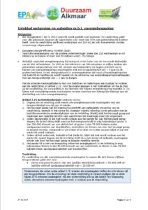 Overzicht relevante wetgeving en subsidies
